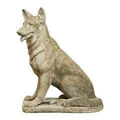 English 1940s Carved Stone German Shepherd Sculpture with Weathered Patina