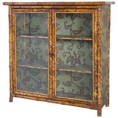 English Victorian Anglo-Japanese Tortoishell Bamboo 2-Door Cabinet Bookshelf