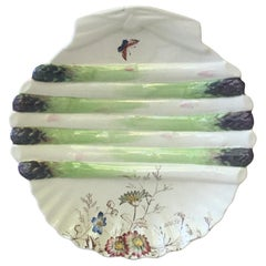 English 19th Century Asparagus Wall Plate with Butterfly