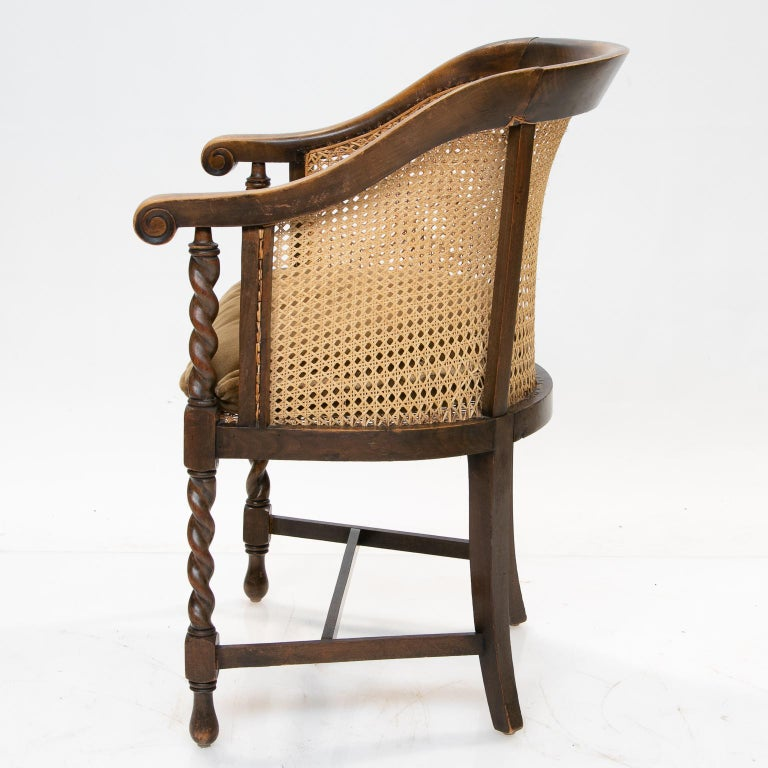 Caning English 19th Century Barrel Back Armchair For Sale