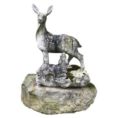 English 19th Century Marble Statue of Doe and Dawn on Boulder Pedestal