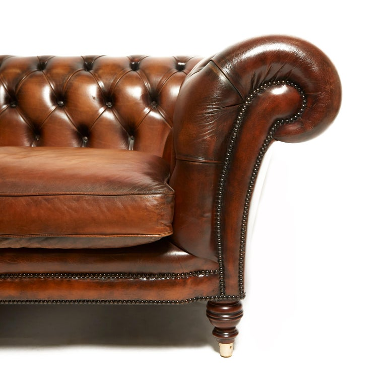Leather English 19th Century Style Chesterfield Sofa For Sale