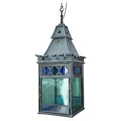 English 19th C Teal, Blue & Orange Stained Glass Gothic Copper Verdigris Lantern