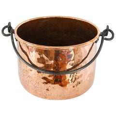 English 19th Century Copper Cauldron Iron Swing Handle, Logs or Plants