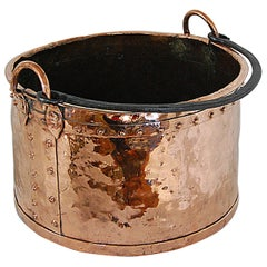 English 19th Century Copper Riveted Cauldron Today for Logs or Plants