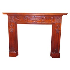 English 19th Century Adam Style Carved Mahogany Fireplace Surround and Mantel
