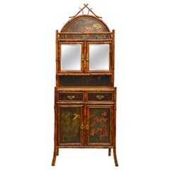 English 19th Century Aesthetic Movement Style Bamboo and Lacquer Etagere Cabinet