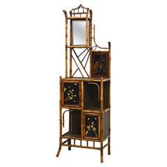 English 19th Century Aesthetic Movement Style Bamboo and Lacquer Etagere