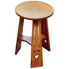 English 19th Century Arts & Crafts Period Oak Tripod Table Heart Motif to Legs