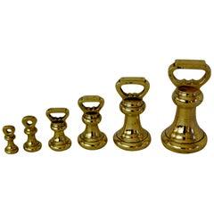 English 19th Century Assembled Set of Six Brass Bell Weights