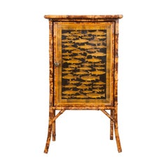 English 19th Century Bamboo and Découpage Cabinet