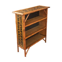 English 19th Century Bamboo and Découpage Fish Bookcase