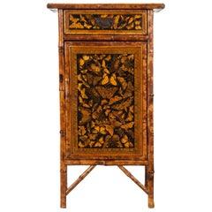 English 19th Century Bamboo Decoupage Cabinet