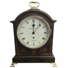 English 19th Century Black Chinoiserie Cased Fusee Bracket Clock