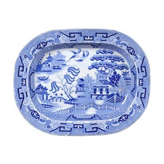 English 19th Century Blue and White Chinoiserie Stoneware Willow Pattern Platter