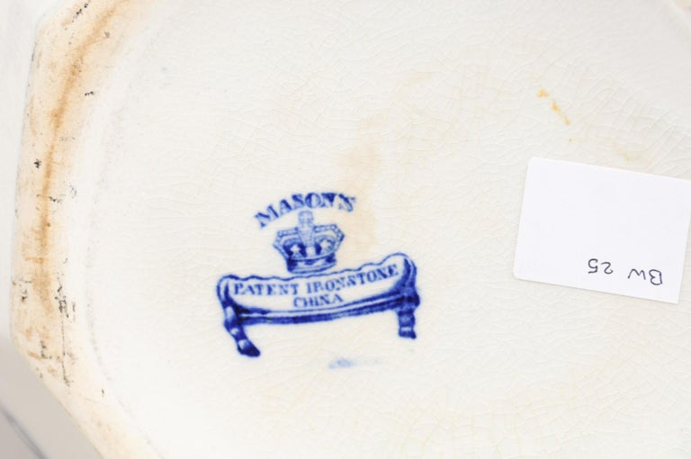English 19th Century Blue and White Mason's Patent Ironstone Octagonal Pitcher For Sale 7