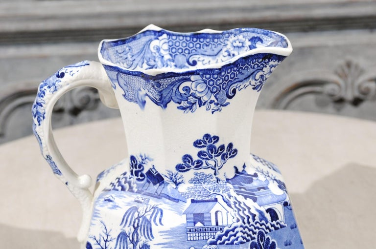 Porcelain English 19th Century Blue and White Mason's Patent Ironstone Octagonal Pitcher For Sale