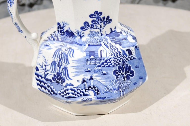 English 19th Century Blue and White Mason's Patent Ironstone Octagonal Pitcher For Sale 1