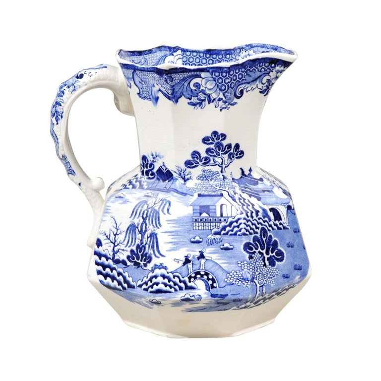 English 19th Century Blue and White Mason's Patent Ironstone Octagonal Pitcher For Sale