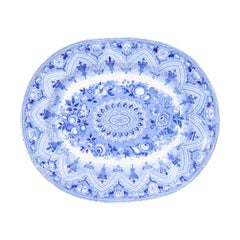 English 19th Century Blue and White Pearlware Oval Platter with Floral Motifs