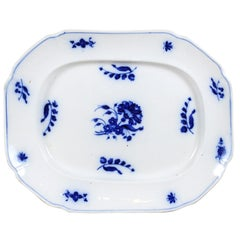 English 19th Century Blue and white Platter with Floral and Foliage Decor