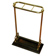 English 19th Century Brass and Iron Umbrella or Stick Stand Registry Dated 1884