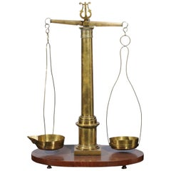 English 19th Century Brass Herbalist Scale with Central Column and Lyre Motif