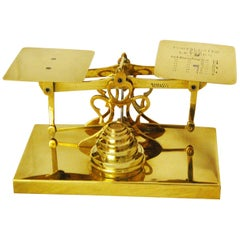 English 19th Century Brass Postal Scale on Brass Base by Sturner & Sons