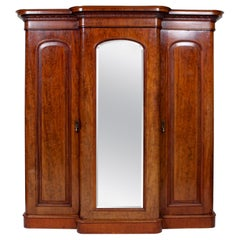 English 19th Century Breakfront Compactum Wardrobe Triple Mirrored Mahogany