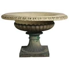 English 19th Century Buff Terracotta Tazza Garden Urn by J M Blashfield