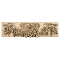 English 19th Century Carved Wooden Fragment with Fruits and Flower Garland