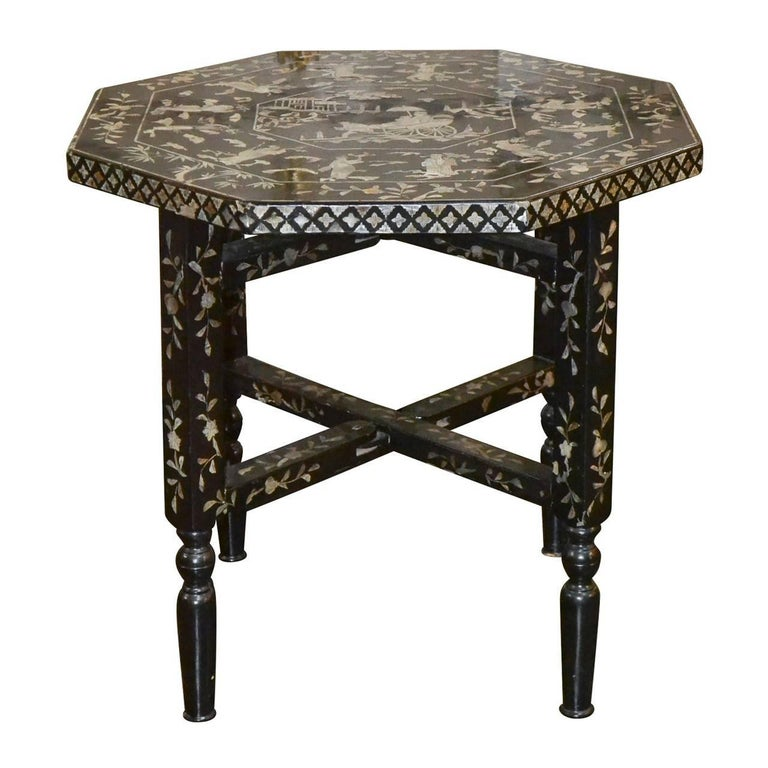 English 19th Century Chinoiserie Inlaid Side Table