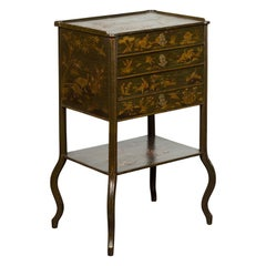English 19th Century Chinoiserie Table with Four Drawers, Shelf and Curving Legs