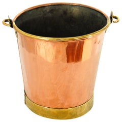 English 19th Century Copper and Brass Dairy Pail with Swing Handle