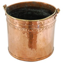 English 19th Century Copper Riveted Coal Bucket, Today for Logs or Plant