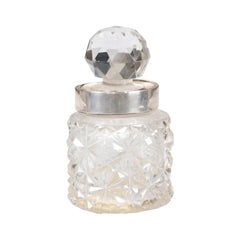 English 19th Century Crystal and Silver Jug with Diamond Motifs and Ball Stopper