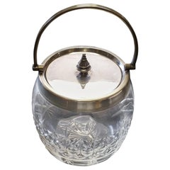 English 19th Century Crystal Biscuit Jar