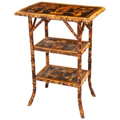 English 19th Century Decoupage Bamboo Table