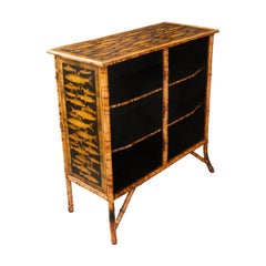 English 19th Century Découpaged Bamboo Bookcase