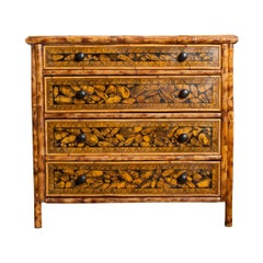 English 19th Century Découpaged Bamboo Chest-of-Drawers