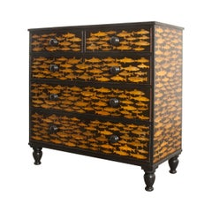 English 19th Century Découpaged Pine Chest-of-Drawers