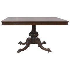 English 19th Century Dining Table Carved Mahogany, Tilt-Top Table