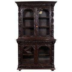 English 19th Century Ebonized Carved Oak Glazed Bookcase Large Greenman