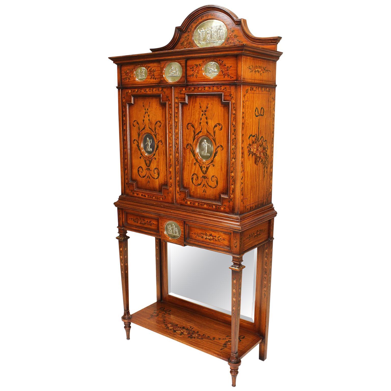 English 19th Century Edwardian Style Painted Satinwood & Silver-Mounted Cabinet