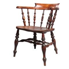 English 19th Century Elm Captain's Chair