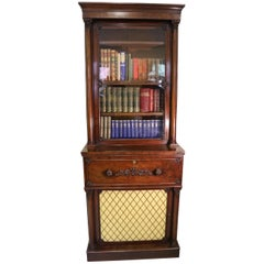 English 19th Century Figured Mahogany Secretaire Bookcase by Gillows, Lancaster