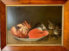 19th century English Folk Art, cat looking at with crab and fish in a bowel