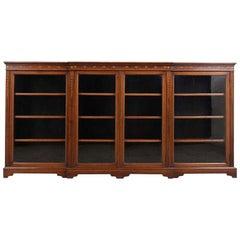 English 19th Century Four Doors Inlaid Mahogany Bookcase