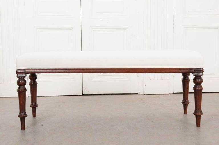English 19th Century George III Mahogany Upholstered Bench 9