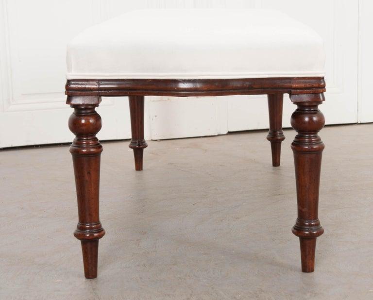 English 19th Century George III Mahogany Upholstered Bench 1